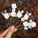 Mayelia, forcine per capelli da sposa a forma di fiore, color argento, accessori per capelli da sposa per donne e ragazze (co