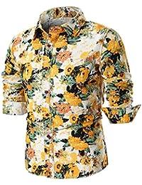 8fb922d4ef14 Elecenty Kompressionsshirt Trachtenhemden Herren,Drucken Hemd Shirt Top  Bluse T-Stücke Männer Langarmhemd Umlegekragen