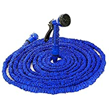 Jackeyhouse 100FT / 150FT / 200FT Magic Stretch Flexible Expandable 3 x Expanding Garden Hose Pipe Natural Triple Layer Light Weight Non Kink with 7 Setting Professional Water Spray Nozzle (150 Feet)