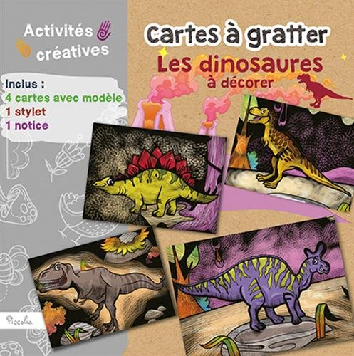 Cartes  gratter Les dinosaures  dcorer : Avec 4 cartes avec modle, 1 stylet, 1 notice