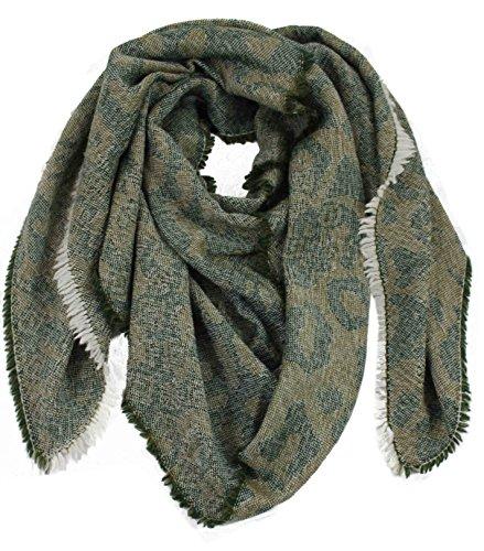 Preisvergleich Produktbild Schal Webschal Jacquard modisch grün 100% Wolle (Merino)R-644