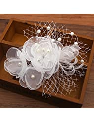 khskx-white pelo hilo hilo Juan Flores Novia hecho a mano con cuentas tocado flor boda accesorios factory, G
