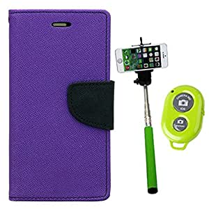 Aart Fancy Diary Card Wallet Flip Case Back Cover For Samsung A5 - (Purple) + Remote Aux Wired Fashionable Selfie Stick Compatible for all Mobiles Phones By Aart Store