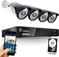 TIGERSECU Wired Home Security CCTV Camera System - Super HD 1080P 4-Channel Surveillance DVR Recorder with 1TB Hard Drive and 4 Weatherproof Security Cameras