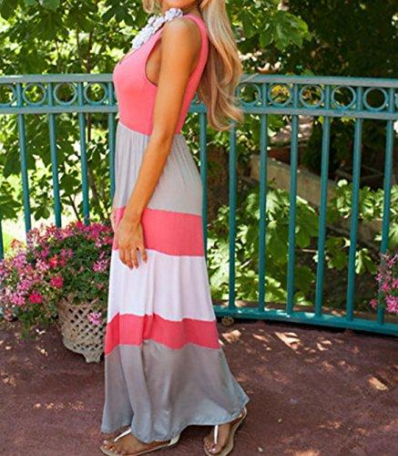D-Pink Familie Kleid gestreifte Kleidung Mama und Mädchen Strandkleid MaxiKleid Mama