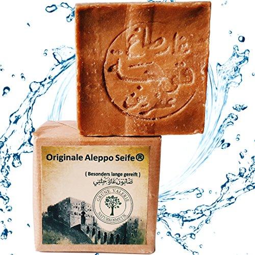 Originale Aleppo Seife ® 200g 50/50% Lorbeeröl/Olivenöl - Haarwaschseife mit PH Wert 8 - Detox Eigenschaften - veganes Naturprodukt - Handarbeit - über 6 Jahre gereift! -
