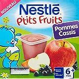 Nestlé Bébé P'tits Fruits Pommes Cassis Compote dès 6 mois 4 x 100 g - Lot de 6 (24 coupelles)