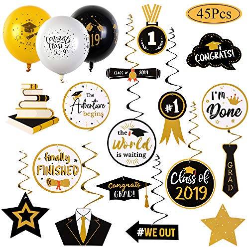 ängende Dekorationen,30 Stück Schwarz Silber Gold Star Cap Folie Swirl+15 Stück Ballon für College Grad, High School Senioren Party Décor ()