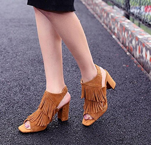SHINIK Frauen Peep Toe Knöchelriemen Pumps High Heels Weibliche Matt Leder Quaste Sandalen Maultiere Yellow