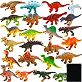 Elcoho 24 Pack Realistic Dinosaurs Figures Toys Assorted Dinosaur Figures with Velvet Storage Bag, Multiple Styles, 3.54 Inches
