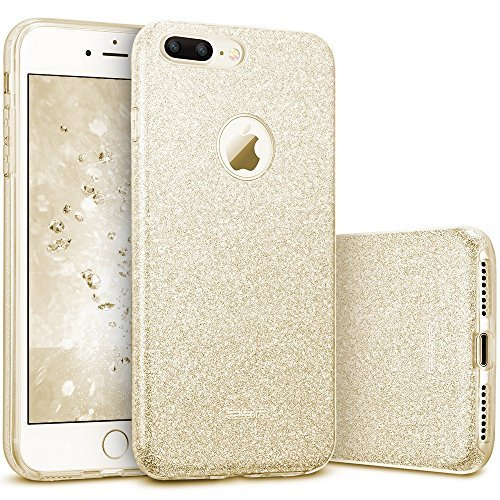 ESR kompatibel mit iPhone 7 Plus Hülle,Glitzer Hybrid Schutzhülle [Weiche TPU Abdeckung + Glitzer Papier + PP innere Schicht] iPhone 7 Plus Bumper Case Hülle für iPhone 7 Plus (Gold)