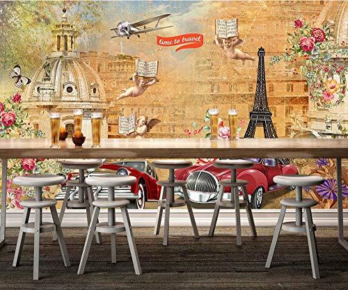 Keshj Carta Da Parati Personalizzata 3D Carta Da Parati Europea Murale Piccolo Angelo Classico Auto Fiore Ristorante-350cmx245cm