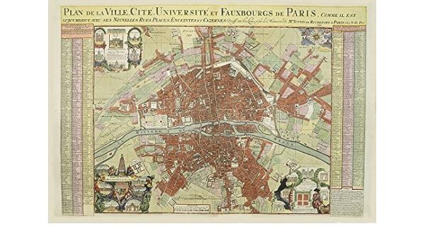 Cartina Politica Di Parigi.Riproduzione Mappa Antica Di Parigi Francia Plan De La Ville Cite Universite Et Faubourgs De Paris Maxi Misura 83 X 56 Cm Amazon It Casa E Cucina