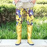 Top Shishang Antirutsch-Regenstiefel fürHerren und Damen,Hohe Schlauchlänge 80cm, Wasserdichte Arbeitsschuhe, Gelbe Camouflage, 42
