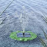 Solar Teichpumpe mit 4 verschiedenen Fontänenaufsätzen in Blattform • Springbrunnen Wasserspiel Solarpumpe Teichfontäne Solarfontäne Garten
