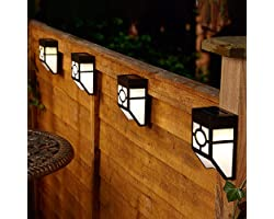 CUQOO Solar Wall Lights Outdoor 8 Pack - Solar Fence Lights Outdoor Lighting - LED Waterproof Solar Garden Lights for Fence,
