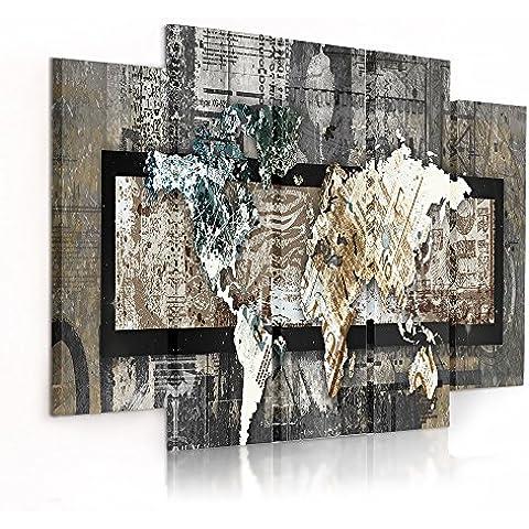 Feeby Frames, Cuadro en lienzo - 5 partes - Cuadro impresión, Cuadro decoración, Canvas (MAPA DEL MUNDO, VINTAGE) 100x150 cm, Tipo