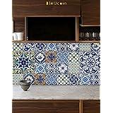 Etiquetas de azulejos portugueses para el respaldo del cuarto de baño de la cocina, Gabinete, Escalera Riser Removal Decal- Pack of 44 (15cm x 15cm (Pack of 44))