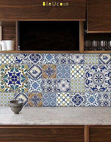 Backsplash Küche (Portugiesische Fliesen-Aufkleber für Küche Badezimmer Backsplash, Schrank, Treppensteiger Abnehmbare Abziehbild-Pack von 44 (15cm x 15cm (Pack of 44)))