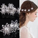 Miya® 4er Set wunderschöne Sterne Blumen Haarspiralen Haarnadeln aus Kristallien, Perle, Strass, Braut Hochzeit Jugendweihe Perle Strass Haarschmuck Haarspiralen