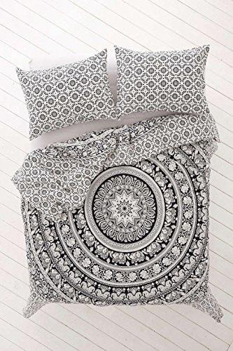 arz & weiß indischen Bettbezug Bettbezug mit Kissenbezügen Boho Tröster Cover, baumwolle, schwarz/weiß, Queen (Tröster Cover Queen Baumwolle)