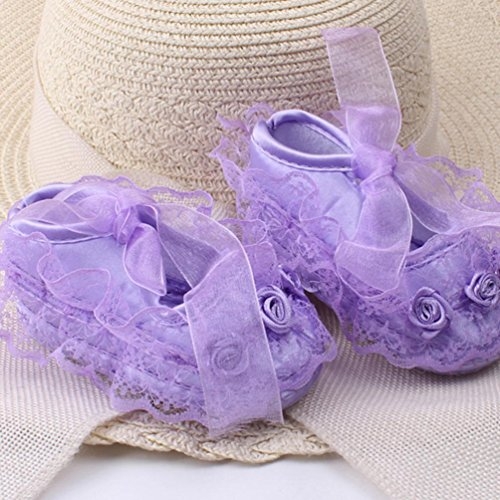 Clode® Baby weiche Sohle Spitze Blume Riband Anti Rutsch Prinzessin Schuhe Kleinkind Lila