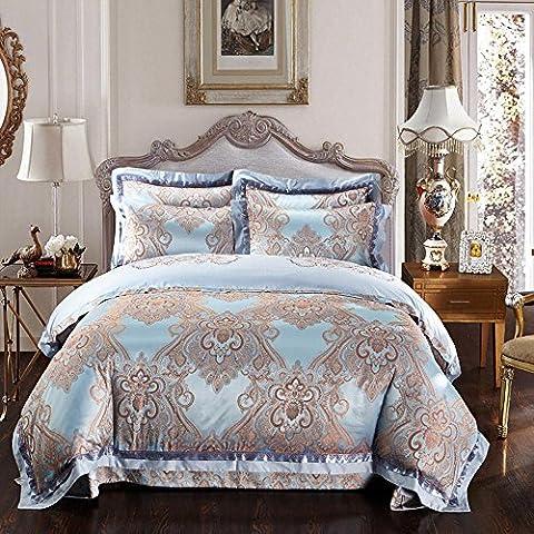 RongYao 4 piezas funda nórdica Jacquard (Reina, rey) - 1 edRojoón 1-hojas 2-almohadas - estilo lujo acolchado de seda - patrón Floral - cómodo, respirable, suave, extremadamente Durable, Azul