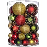 WeRChristmas 50-Piece Shatterproof Deluxe Christmas Tree Baubles Decoration Pack - Red / Gold / Green, Multi-colour