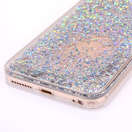Cover iPhone 7Plus, CLTPY iPhone 7Plus Trasparent Liquidi Custodia con Flowing Sparkles Argento Shinny Glitter Scintillio Bling Polvere, Soft TPU Diamant Bumper Rigida Back Case per Apple iPhone 7Plus Argento