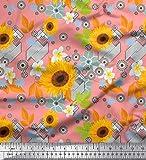 Soimoi Orange Seide Stoff Blätter und Sonnenblumen Blumen-