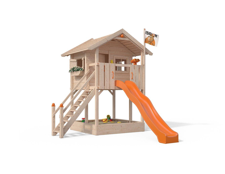 ISIDOR Spielturm FRIDOLINO Schaukelanbau mit XXL Rutsche in orange, Sandkasten, Balkon und Sicherheitstreppe auf 1,50…