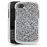 Blackberry Q10 Hülle Schutz Hard Case Cover Glitzer Silber