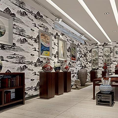 BTJC Papel pintado del PVC papel pintado moderno salón de té de tinta china pintura salón comedor fondo de la TV , wallpaper