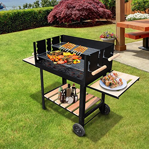 Outsunny Trolley Charcoal BBQ Barbecue Grill Patio Outdoor Garden Heating Heat Smoker 138x52.5x101cm