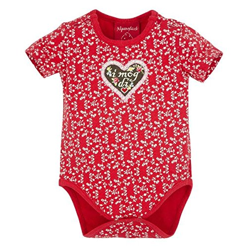 BONDI Body ´I mog di!´, Blümchendruck rot 92 Tracht Baby Mädchen Artikel-Nr.85812