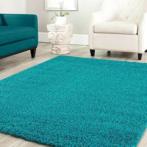 Teppich-home stella shaggy tappeto colore pelo lungo tappeti moderni per soggiorno camera letto tinta unita turchese, 200x280 cm
