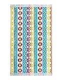 Strandtuch Dominica ca. 100 x 180 cm Velours Badelaken, Gestreiftes Liegetuch, Strandlaken in Regenbogenfarben