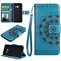 Galaxy A7 2017 Wallet Case, EST-EU Retro Mandala Embossing PU Leather Stand Function Protective Covers with Card Slot Holder Wallet Book Case for Samsung Galaxy A7 2017, Blue