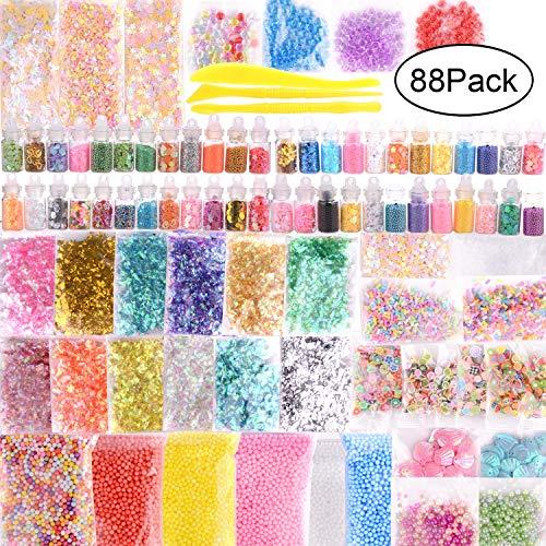 88 Pack Slime Supplies Kit, flauschig Charms Perlen schlamm und natureas Kristall schlamm enthalten Glitzer