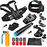 SHOOT 21-in-1 Accessori Kit Capo Toracica Cup + Monopiede + Wrist Strap + Aspirazione + Clip del Cappello + Float Bar + Kit Piatto / Curvo Mount + Pouch Accessori per GoPro 6/5/4/3+/3/2 Xiaoyi Yi 2 4K/ YI 4K+