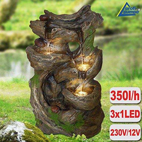Gartenbrunnen Brunnen Zierbrunnen Zimmerbrunnen Brunnen Märchenwald mit LED-Licht 230V Wasserfall Wasserspiel für Garten, Gartenteich, Terrasse, Teich, Balkon Sehr Dekorativ