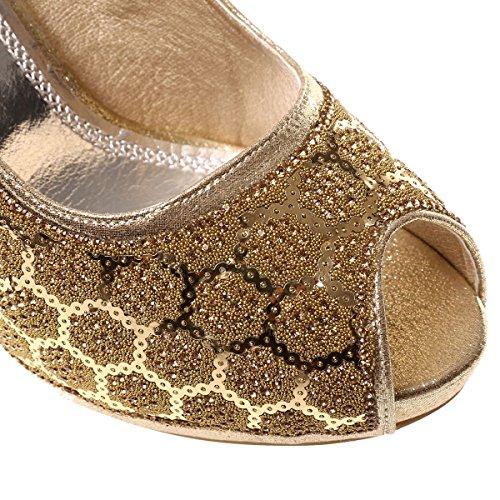 La Modeuse - Escarpins à bout ouvert type peep-toes, en tissu brillant Doré