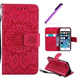 HMTECH iPhone 6S Plus / 6 Plus Flip Leather Case Wallet Cierre de con Tapa Tarjetas con Card Holder + Stand Function Carcasas Case para iPhone 6S Plus/iPhone 6 Plus 5.5 Inch,Red Sunflower for KT