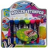 Bolígrafos Rodillo Estampador de los Niños - doble punta - Paquete de 6 - Diferentes Formas y Colores - por Grafix