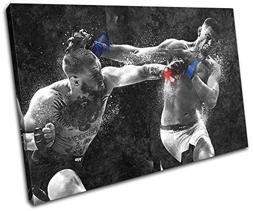 Bold Bloc Design Conor Mcgregor Nate Diaz UFC MMA Sports 135x90cm SINGLE Leinwand Kunstdruck Box gerahmte Bild Wand hangen