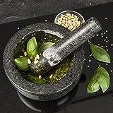 Premium sólido mortero y mano de granito–tamaño grande 15,5cm de diámetro