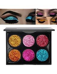 ROPALIA 6 Couleurs Palette Maquillage Yeux Fard à Paupière Pailleté Glitter Imperméable (A)