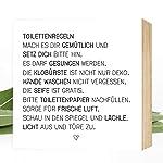 Wunderpixel® Holzbild Toiletten-Regeln - 15x15x2cm zum Hinstellen/Aufhängen, echter Fotodruck mit Spruch auf Holz...