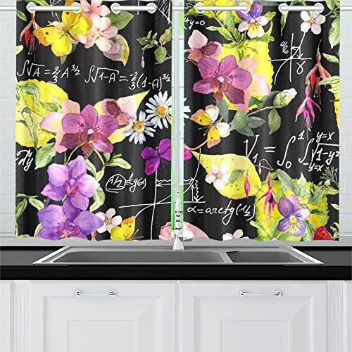 JINCAII Wissenschaft Design mathematische Graph Formel Blumen Küche Vorhänge Fenster Vorhang Stufen für Café, Bad, Wäscheservice, Wohnzimmer Schlafzimmer 26 X 39 Zoll 2 Stück -