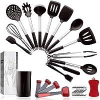 Pahajim 14 Pièces Set d'Ustensiles de Cuisine Silicone Antiadhésif, Kit Ustensiles Cuillères de Cuisine avec Poignée en…